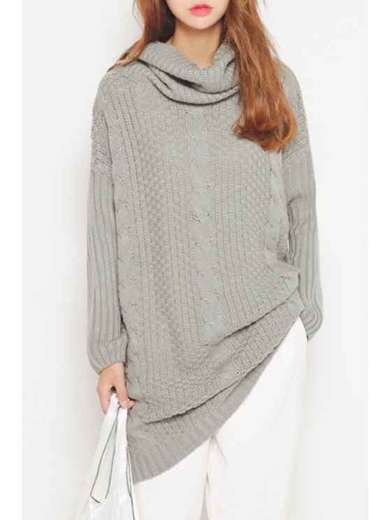 outfits Turtleneck Cable Knit Long Sweater - GRAY ONE SIZE(FIT SIZE XS TO M)