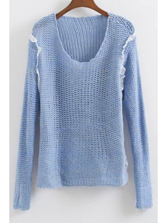 new Blue Scoop Neck Long Sleeve Jumper - BLUE ONE SIZE(FIT SIZE XS TO M)