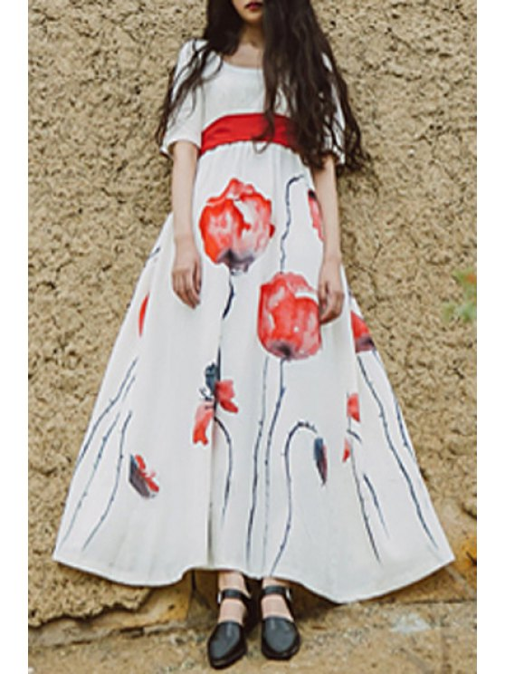 women Half Sleeve Poppy Print Maxi Dress - WHITE S