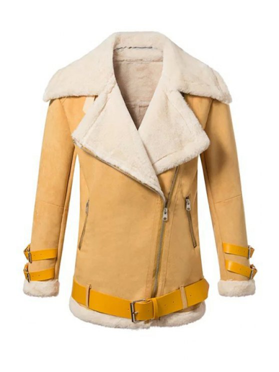fashion Lapel Neck Long Sleeve Fur Collar Coat - YELLOW S