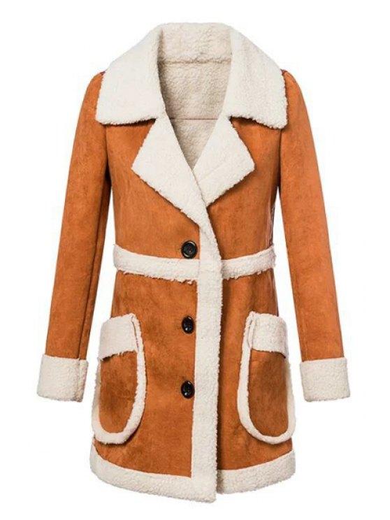 latest Fleece Spliced Lapel Long Sleeve Coat - BROWN S