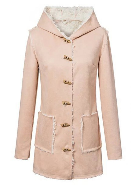 affordable Faux Suede Hooded Long Sleeves Coat - LIGHT PINK S