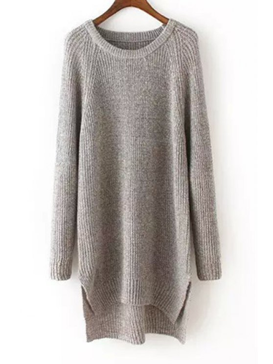 fancy Side Slit Scoop Neck Long Sleeves Jumper - GRAY ONE SIZE(FIT SIZE XS TO M)