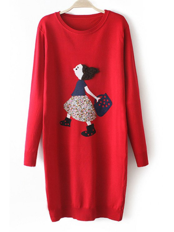 shops Cartoon Girl Pattern Long Sleeve Sweater Dress - RED ONE SIZE(FIT SIZE XS TO M)