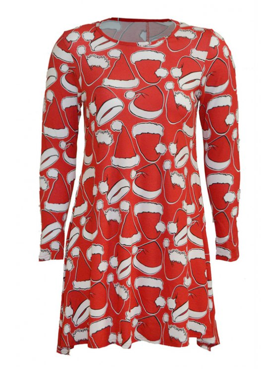 shop Santa's Missing Hat Print Long Sleeve Dress - RED S