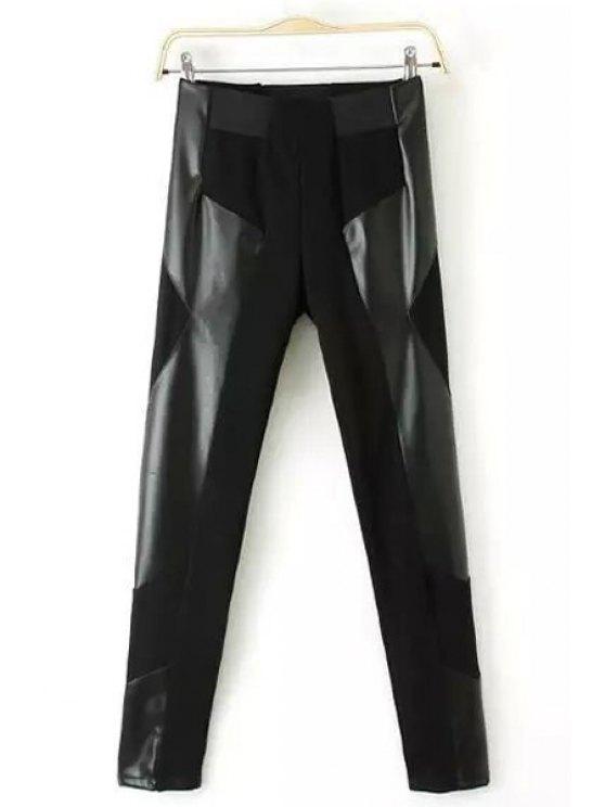 sale PU Leather Spliced High Waisted Leggings - BLACK S
