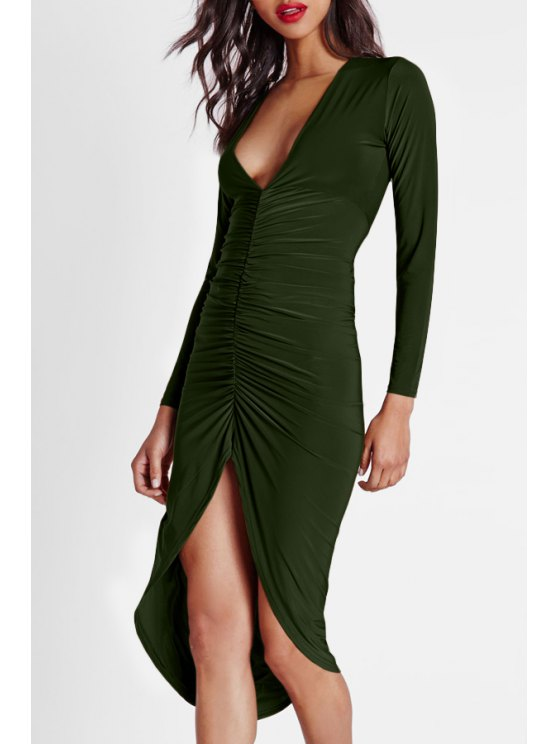 buy Solid Color Ruched Plunging Neck Long Sleeves Dress - KHAKI S