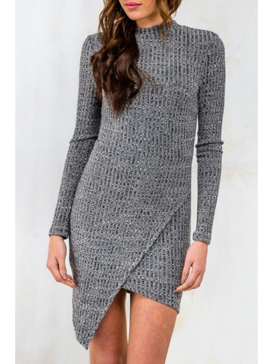unique Gray Round Neck Long Sleeve Sweater Dress - GRAY S