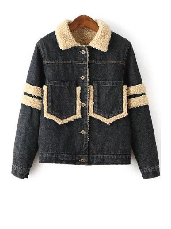 outfit Faux Fur Spliced Denim Turn-Down Collar Thicken Coat - BLACK S