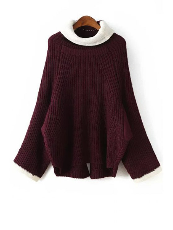 fancy Color Block Turtle Neck Long Sleeves Pullover Sweater - WINE RED ONE SIZE(FIT SIZE XS TO M)