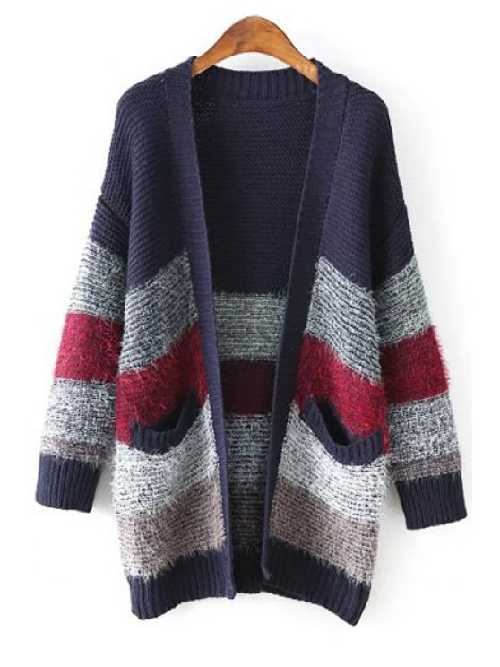 unique Color Block Pockets Stand Neck Long Sleeves Cardigan - PURPLISH BLUE ONE SIZE(FIT SIZE XS TO M)