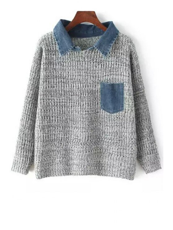 affordable Loose Fitting Denim Spliced Flat Collar Sweater - GRAY ONE SIZE(FIT SIZE XS TO M)
