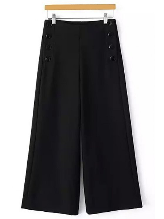 new Solid Color Loose Fitting Palazzo Pants - BLACK XS