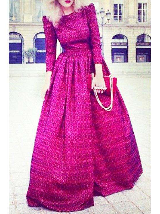 shop Print Boat Neck 3/4 Sleeve Maxi Dress - ROSE L