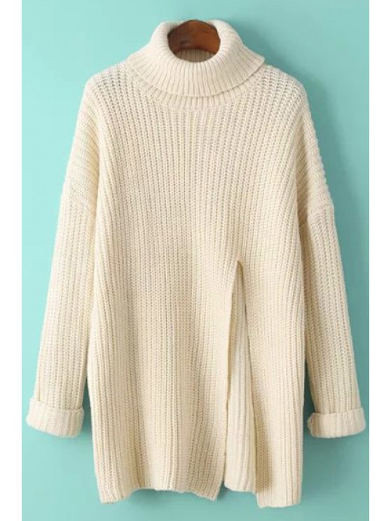 womens Solid Color Front High Slit Turtle Neck Sweater - OFF-WHITE ONE SIZE(FIT SIZE XS TO M)