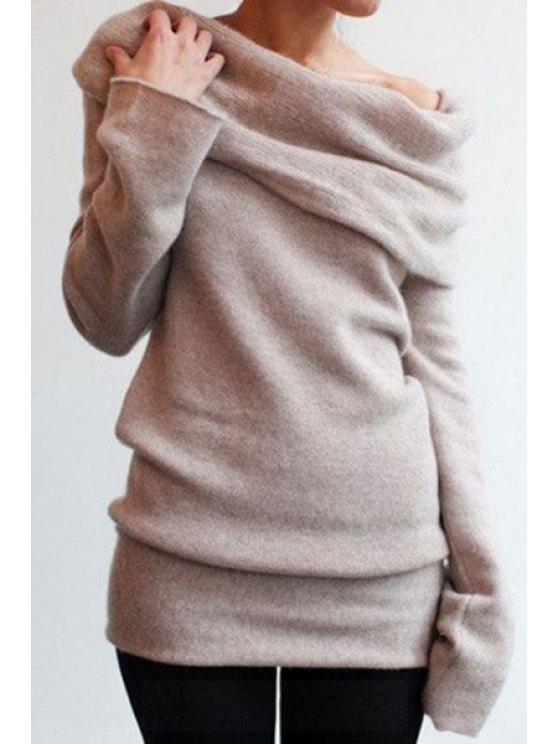 lady Solid Color Slash Neck Sweatshirt - KHAKI S