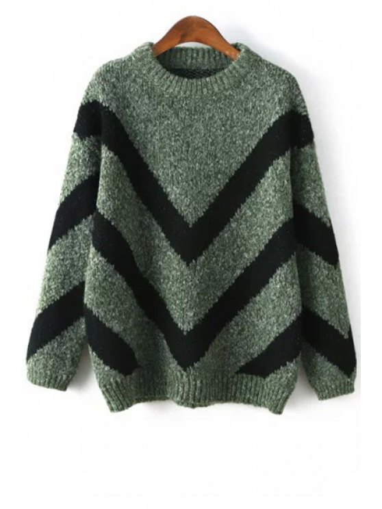 ladies Zig Zag Print Round Neck Long Sleeves Sweater - GREEN ONE SIZE(FIT SIZE XS TO M)