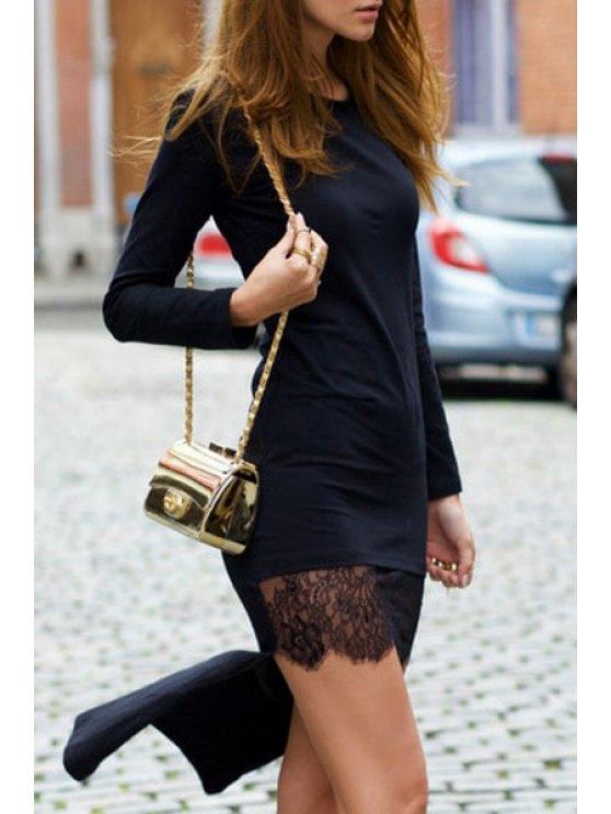 sale Black High Low Round Neck Long Sleeve Dress - BLACK S