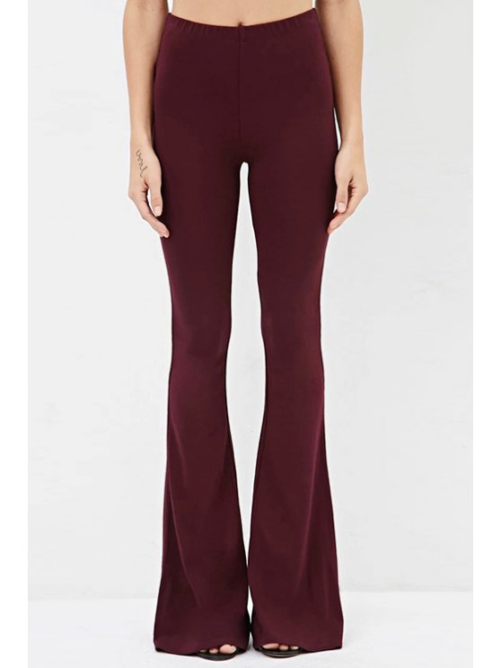 shops Solid Color Slimming OL Style Bell Bottom Pants - WINE RED S