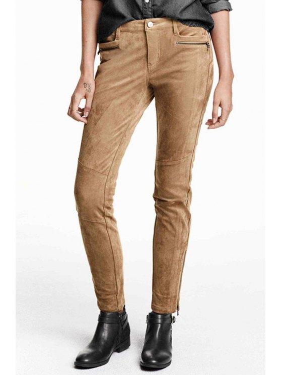 women Solid Color Suede Narrow Feet Pants - KHAKI XS