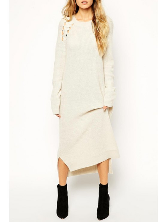 lady Off-White Long Sleeve Sweater Dress - OFF-WHITE ONE SIZE(FIT SIZE XS TO M)