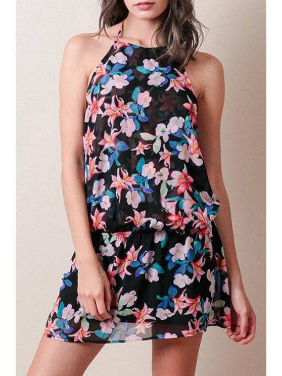 outfits Backless Halterneck Floral Print Dress - BLACK XS