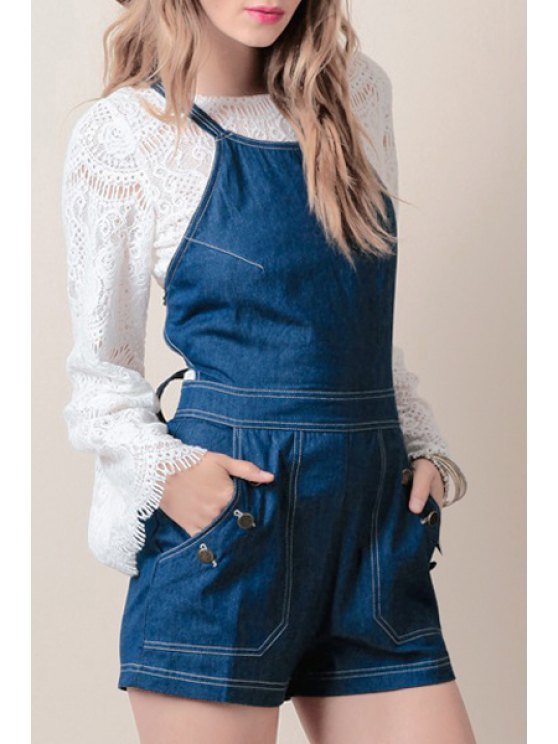 best Crossed Lace Up Solid Color Denim Overalls - BLUE XS