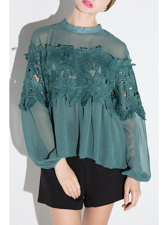 fancy Openwork Lace Hook See-Through Solid Color Blouse - GREEN XS