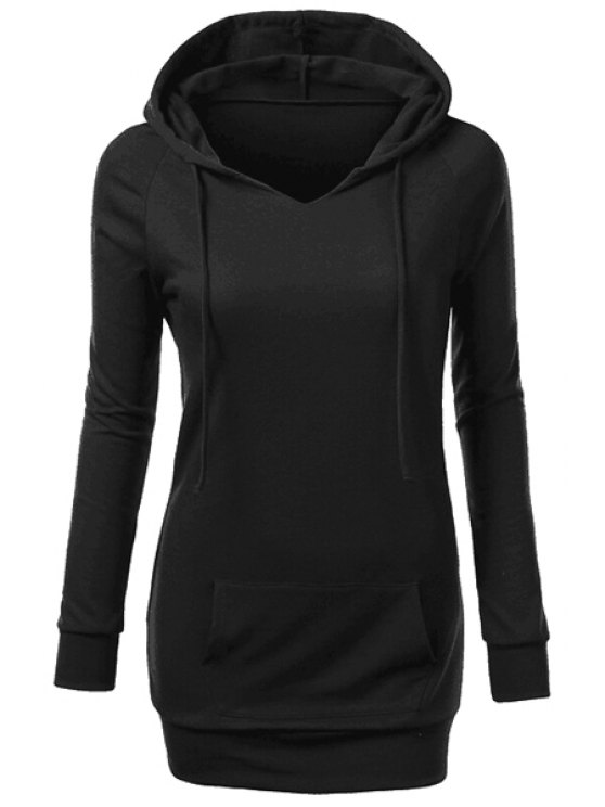 unique Hooded Front Pocket Pullover Hoodie - BLACK S