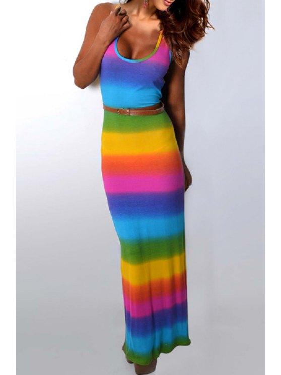 chic Sleeveless Colorful Bodycon Maxi Dress - COLORFUL S