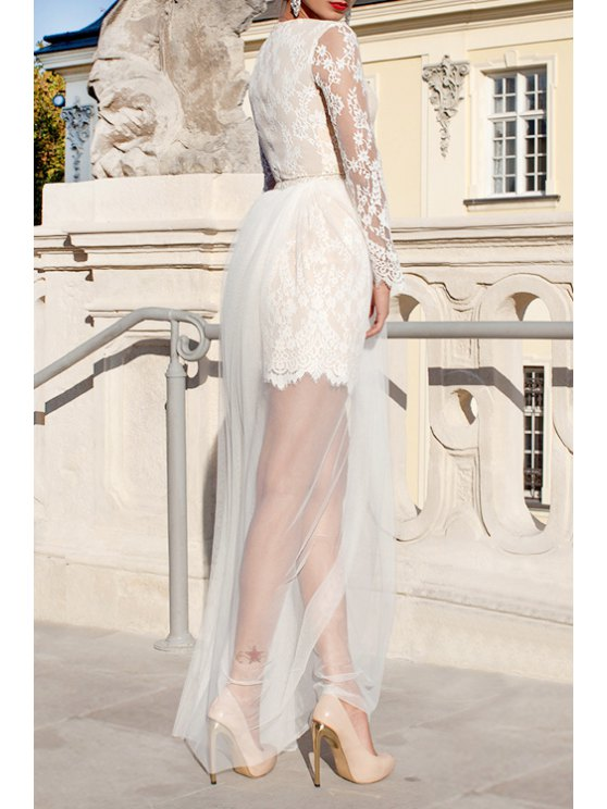 unique See-Through Openwork Lace Hook Voile Spliced Maxi Dress - WHITE S