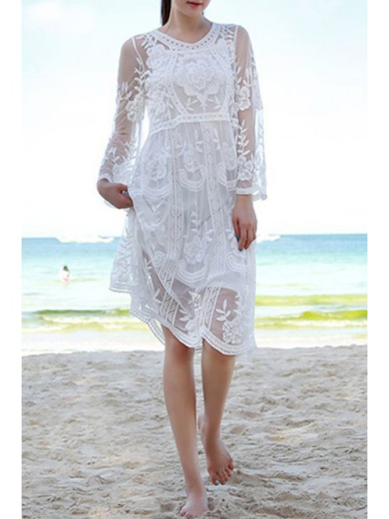 best Openwork Lace Voile Spliced Solid Color See-Through Dress - WHITE ONE SIZE(FIT SIZE XS TO M)