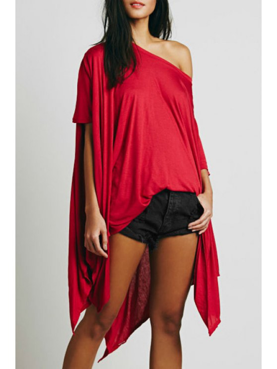 unique Solid Color Loose Fitting Sloping Neck T-Shirt - RED S