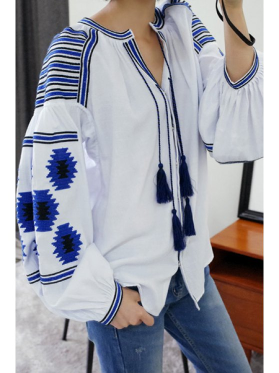 fashion Ethnic Embroidery V-Neck Long Sleeve Blouse - WHITE ONE SIZE(FIT SIZE XS TO M)