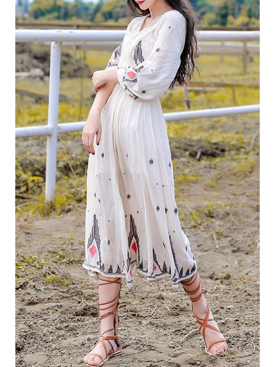 unique Embroidery Plunging Neck Nine-Minute Sleeve Dress - OFF-WHITE S