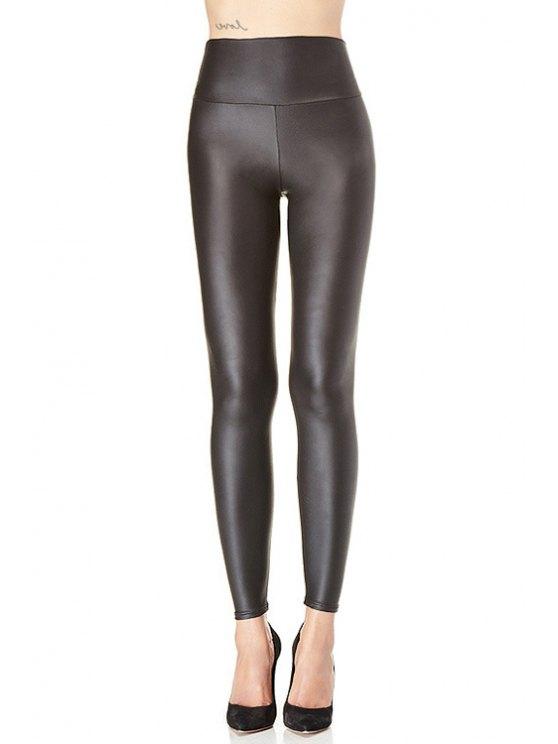 women's Black PU Leather High Waist Legging - BLACK XS