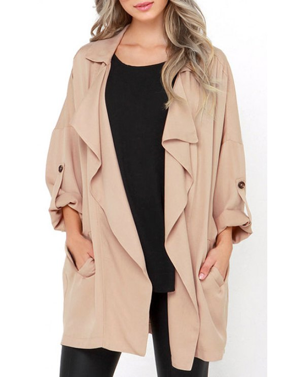 best Solid Color Lapel Collar Long Sleeves Pockets Coat - APRICOT XS