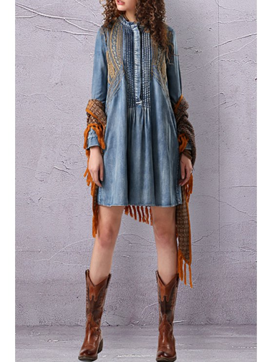 Stand Neck Embroidered Pleated Denim Dress - LIGHT BLUE M Mobile