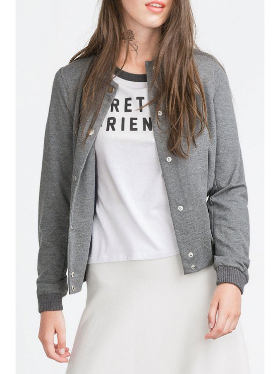 women Solid Color Pockets Stand Collar Long Sleeves Sweatshirt - GRAY XS