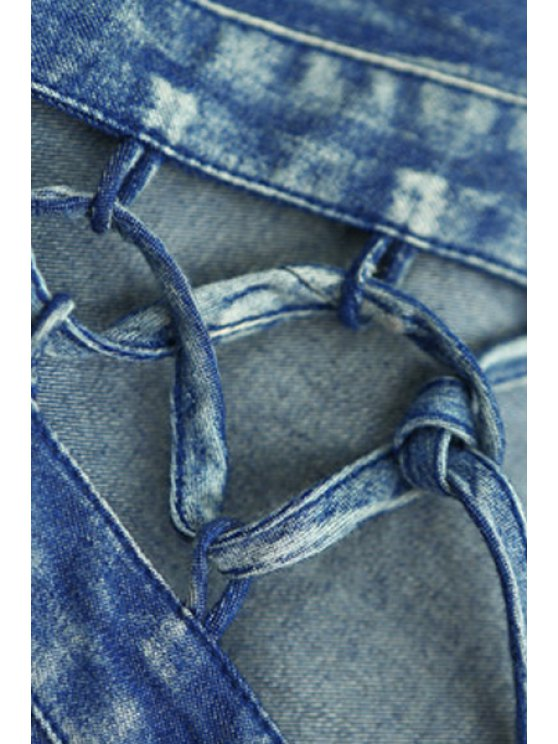 Tribal Print Mini Long Sleeve Swing Dress - BLUE L Mobile
