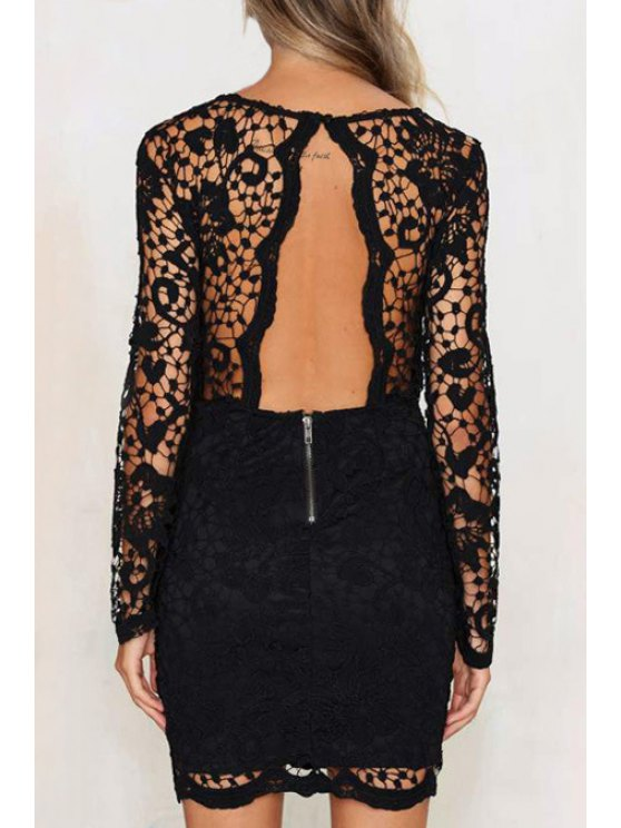 buy Solid Color Openwork Lace Hook Round Collar Dress - BLACK XS