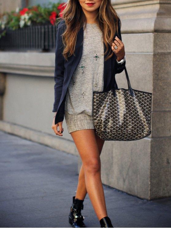 buy Pure Color Shawl Collar Long Sleeves Blazer - LIGHT BLUE S
