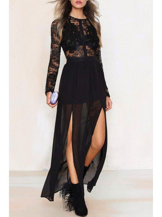 sale Openwork Lace Hook Chiffon Spliced Solid Color Maxi Dress - BLACK XS