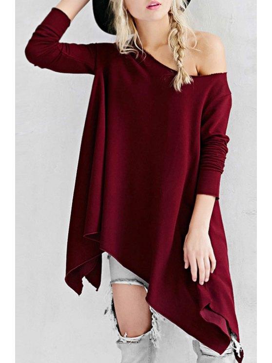 chic Irregular Hem Wine Red Fall Top - WINE RED XS