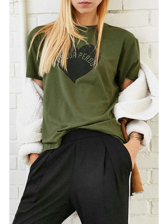 outfit Heart Letter Print Round Collar Short Sleeves T-Shirt - ARMY GREEN XS