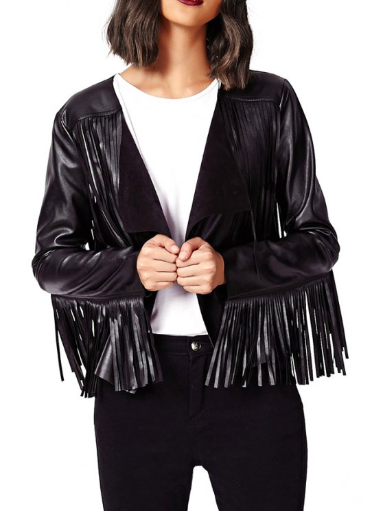 women Solid Color PU Leather Tassels Long Sleeves Jacket - BLACK XL