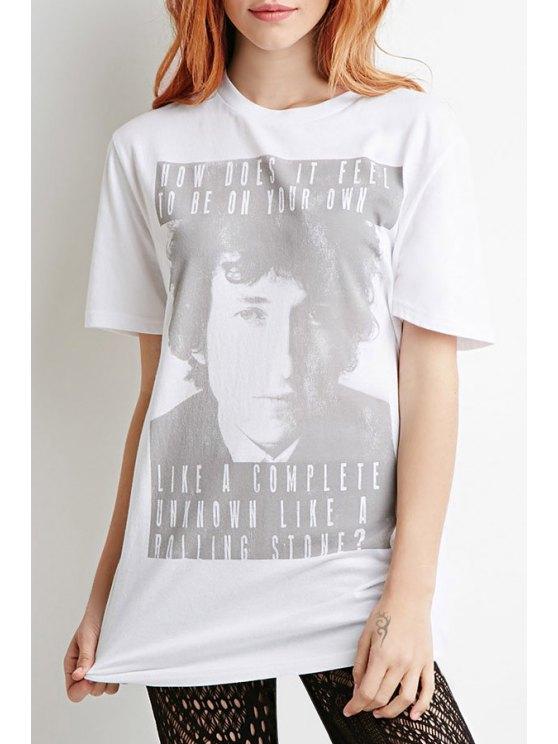 buy Figure Letter Print Round Collar Short Sleeves T-Shirt - WHITE XS