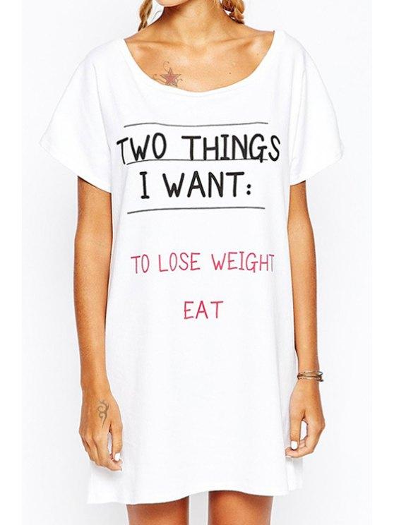fashion Letter Print Scoop Collar Short Sleeves T-Shirt Dress - WHITE XS