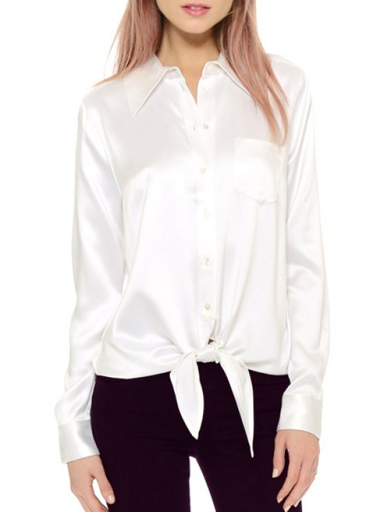 online Long Sleeve Single-Breasted Tie Knot Shirt - WHITE XS