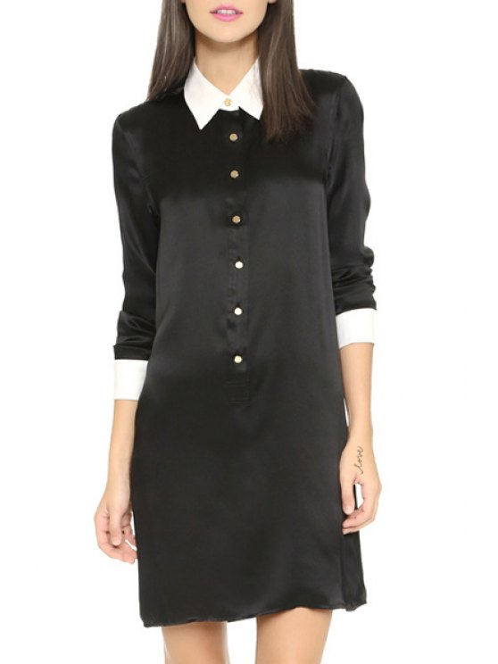 hot 3/4 Sleeve Single-Breasted Shirt Dress - BLACK XS